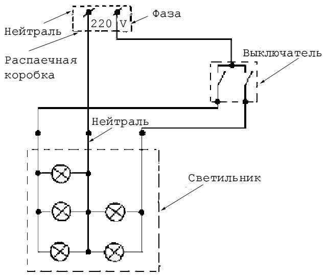 Схема подключения напольного выключателя для торшера