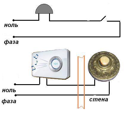 Как подключить дверной звонок 2 провода схему