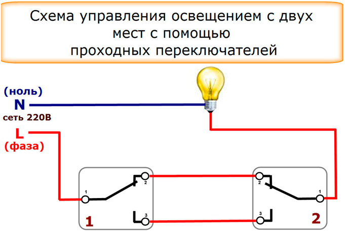 Установка проходного выключателя